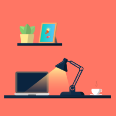 Desk Laptop Desk Lamp Workspace  - meesgroothuis / Pixabay